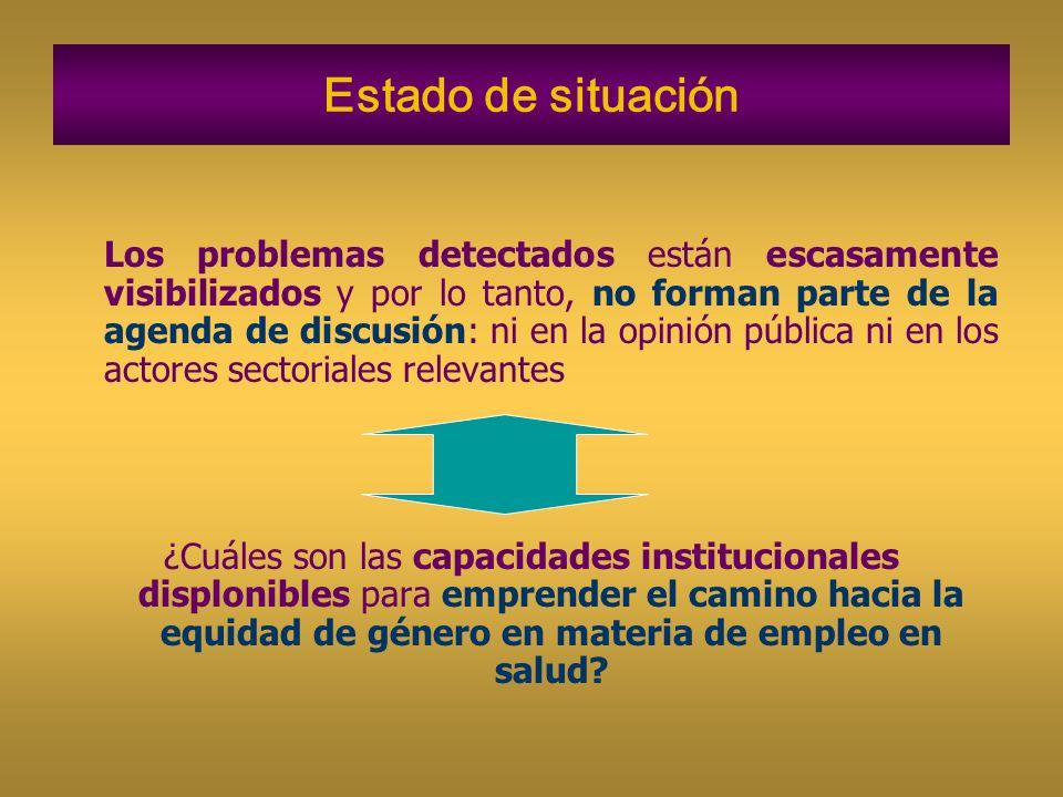 Estado de situación Los problemas detectados están escasamente visibilizados y por lo tanto, no forman parte de la agenda de discusión: ni en la opini