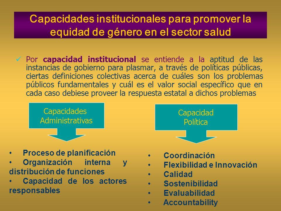 Capacidades institucionales para promover la equidad de género en el sector salud Por capacidad institucional se entiende a la aptitud de las instanci