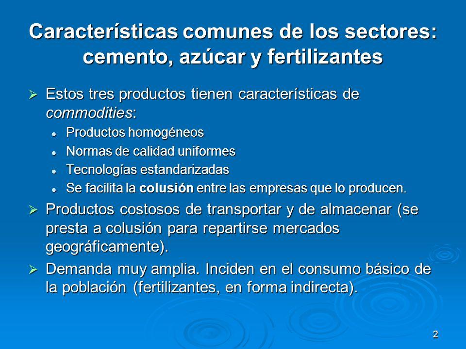2 Características comunes de los sectores: cemento, azúcar y fertilizantes Estos tres productos tienen características de commodities: Estos tres prod