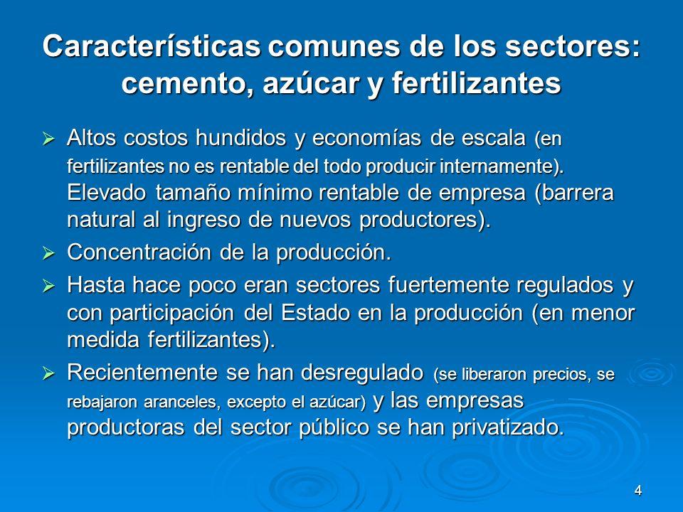 4 Características comunes de los sectores: cemento, azúcar y fertilizantes Altos costos hundidos y economías de escala (en fertilizantes no es rentabl