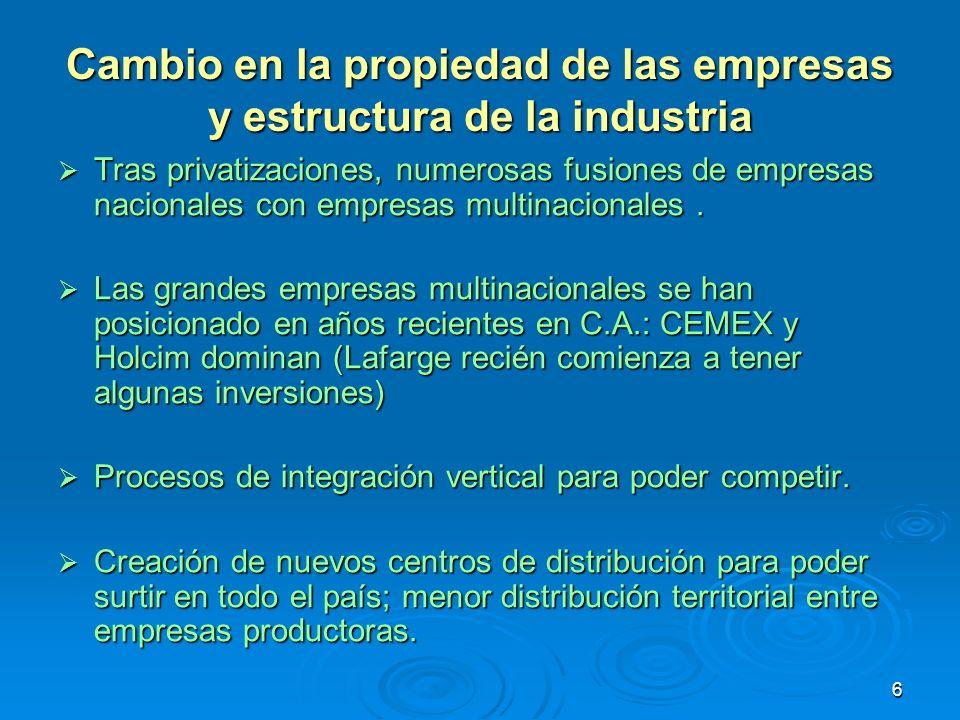 6 Cambio en la propiedad de las empresas y estructura de la industria Tras privatizaciones, numerosas fusiones de empresas nacionales con empresas mul