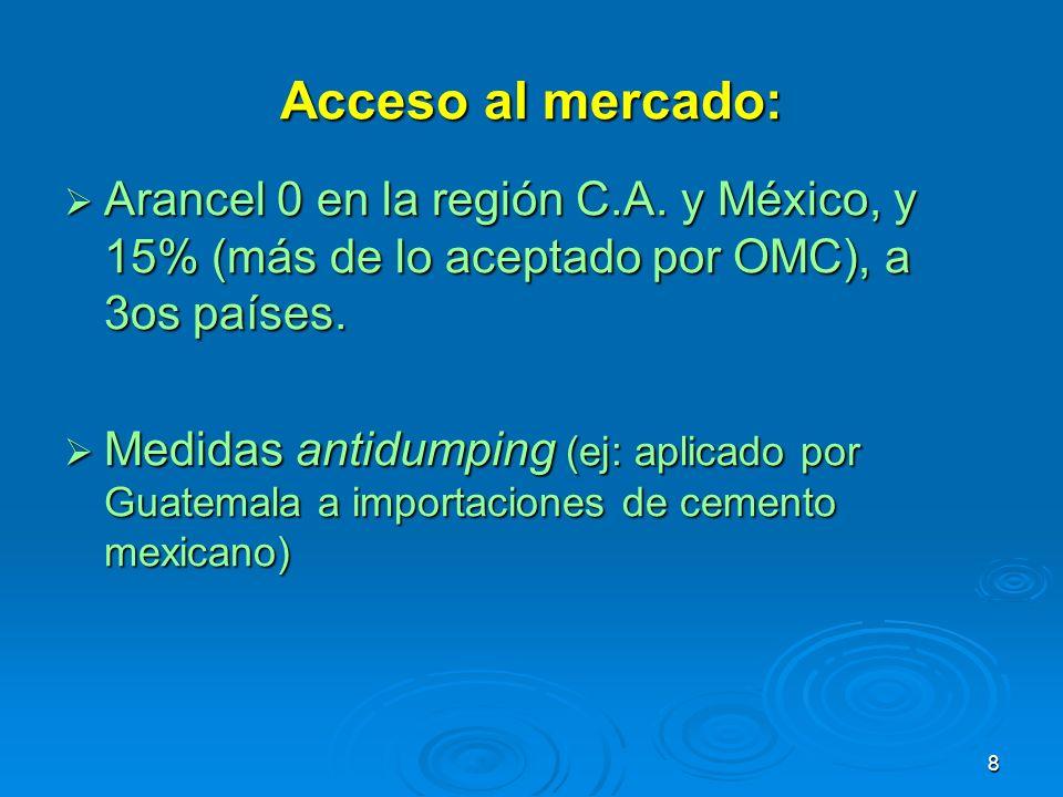 8 Acceso al mercado: Arancel 0 en la región C.A. y México, y 15% (más de lo aceptado por OMC), a 3os países. Arancel 0 en la región C.A. y México, y 1