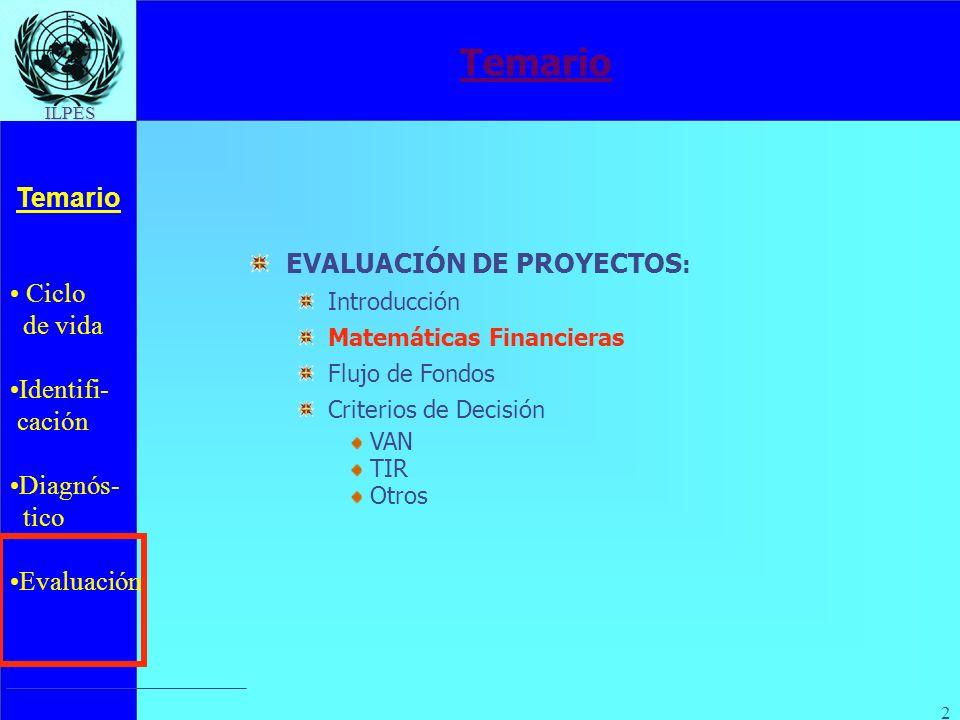 Ciclo de vida Identifi- cación Diagnós- tico Evaluación Temario ILPES 2 EVALUACIÓN DE PROYECTOS : Introducción Matemáticas Financieras Flujo de Fondos