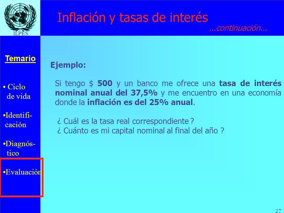 Ciclo de vida Identifi- cación Diagnós- tico Evaluación Temario ILPES 27 Inflación y tasas de interés Si tengo $ 500 y un banco me ofrece una tasa de