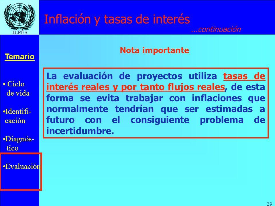 Ciclo de vida Identifi- cación Diagnós- tico Evaluación Temario ILPES 29 Inflación y tasas de interés...continuación La evaluación de proyectos utiliz