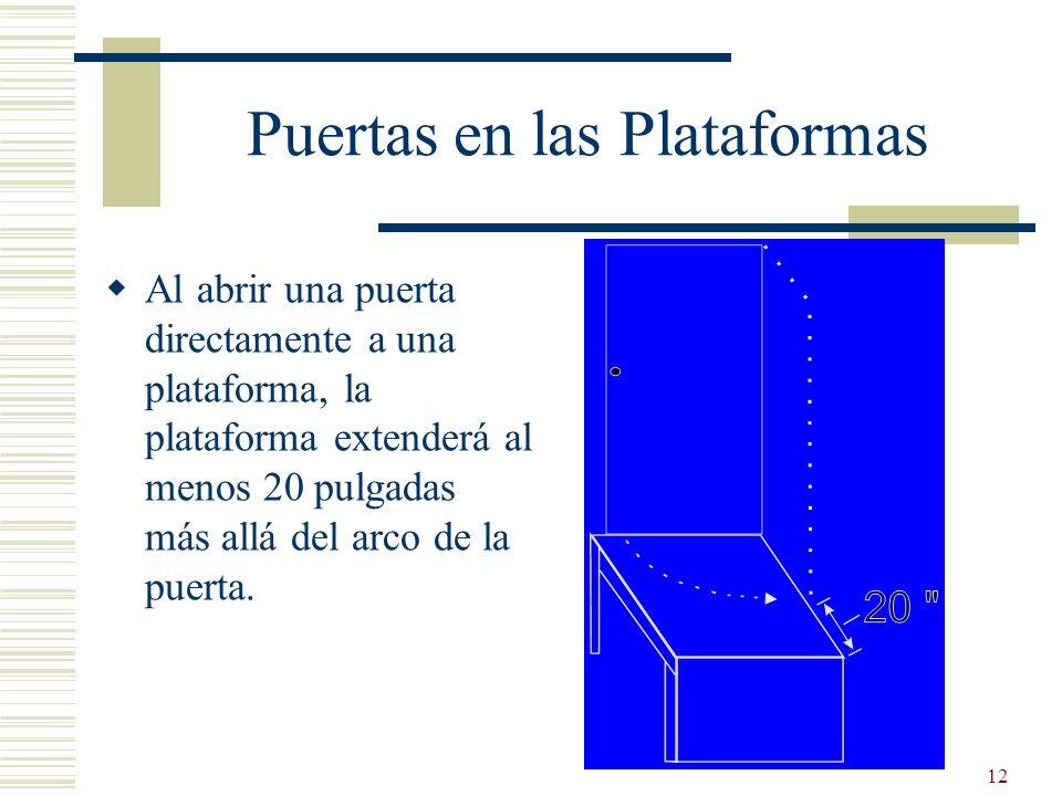 12 Puertas en las Plataformas Al abrir una puerta directamente a una plataforma, la plataforma extenderá al menos 20 pulgadas más allá del arco de la
