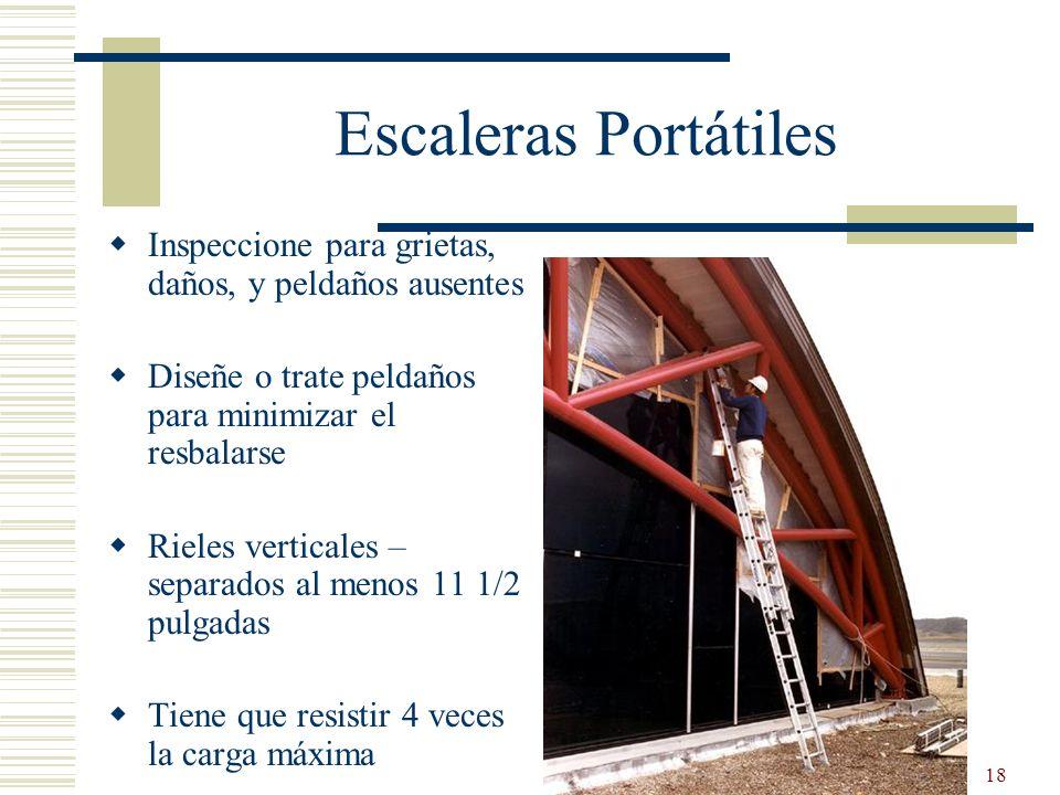 18 Escaleras Portátiles Inspeccione para grietas, daños, y peldaños ausentes Diseñe o trate peldaños para minimizar el resbalarse Rieles verticales –