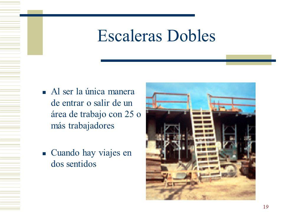19 Escaleras Dobles Al ser la única manera de entrar o salir de un área de trabajo con 25 o más trabajadores Cuando hay viajes en dos sentidos