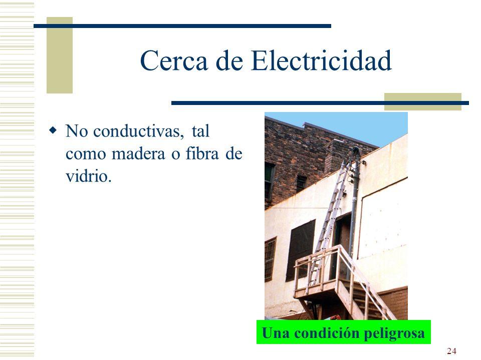 24 Una condición peligrosa Cerca de Electricidad No conductivas, tal como madera o fibra de vidrio.