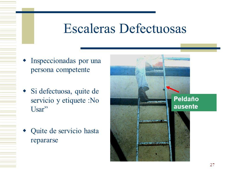 27 Peldaño ausente Escaleras Defectuosas Inspeccionadas por una persona competente Si defectuosa, quite de servicio y etiquete :No Usar Quite de servi