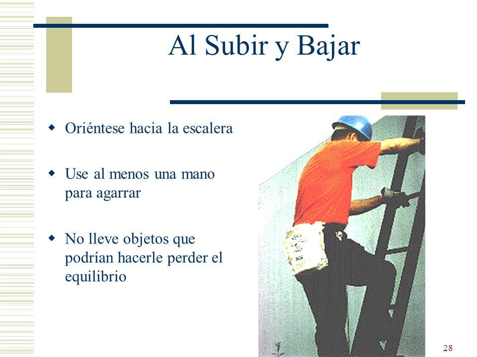 28 Al Subir y Bajar Oriéntese hacia la escalera Use al menos una mano para agarrar No lleve objetos que podrían hacerle perder el equilibrio