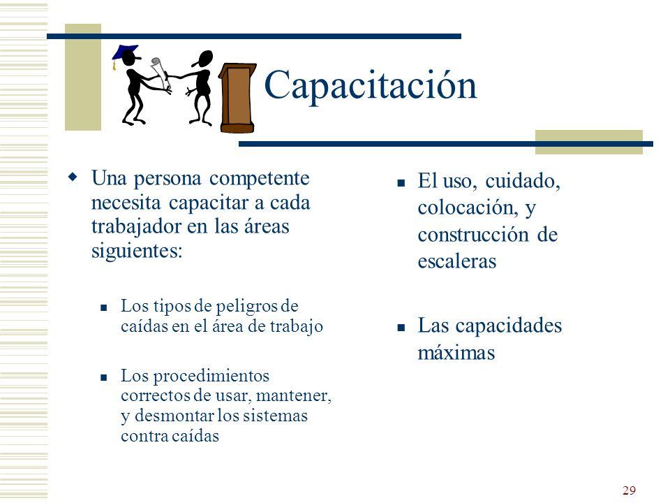 29 Capacitación Una persona competente necesita capacitar a cada trabajador en las áreas siguientes: Los tipos de peligros de caídas en el área de tra