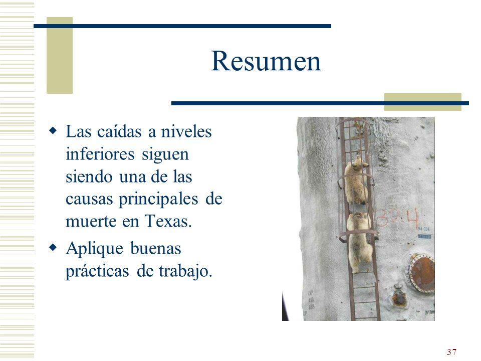 37 Resumen Las caídas a niveles inferiores siguen siendo una de las causas principales de muerte en Texas. Aplique buenas prácticas de trabajo.