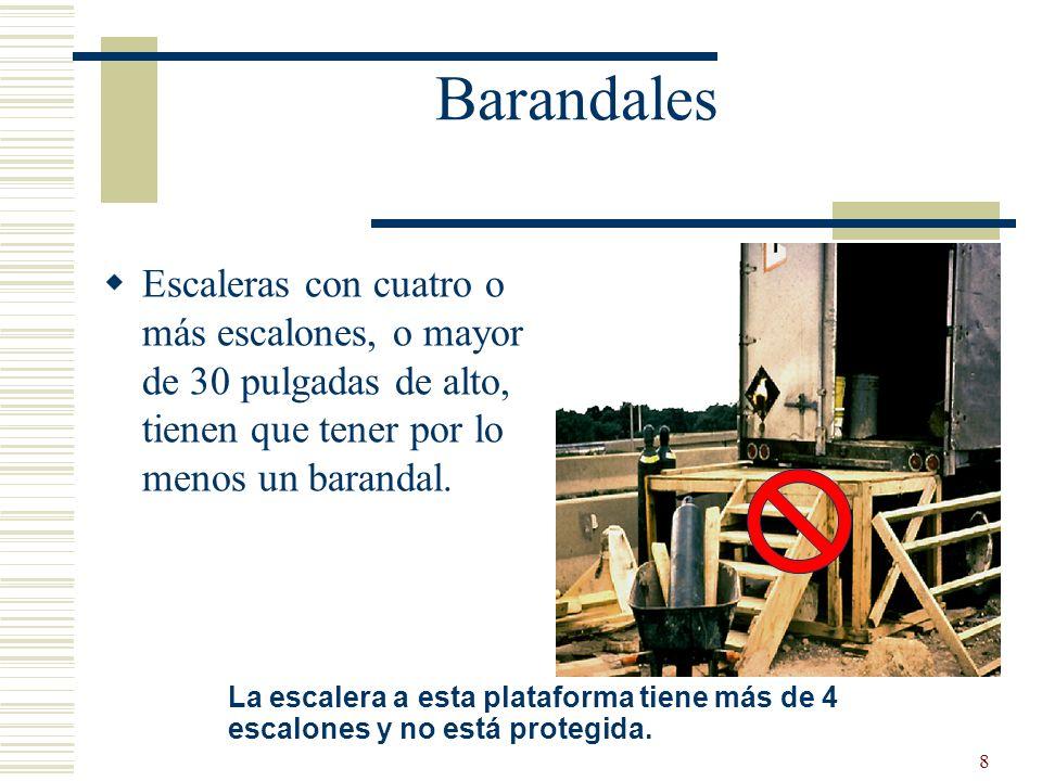 9 Barandales Escaleras con cuatro o más escalones, o mayor de 30 pulgadas de alto, tienen que tener barandal a cada lado.