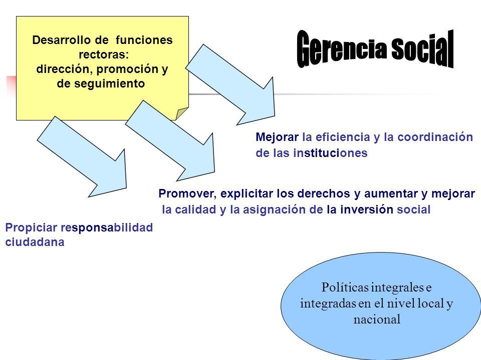 Desarrollo de funciones rectoras: dirección, promoción y de seguimiento Políticas integrales e integradas en el nivel local y nacional Mejorar la efic