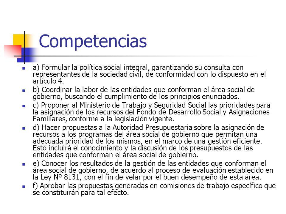 Competencias a) Formular la política social integral, garantizando su consulta con representantes de la sociedad civil, de conformidad con lo dispuest