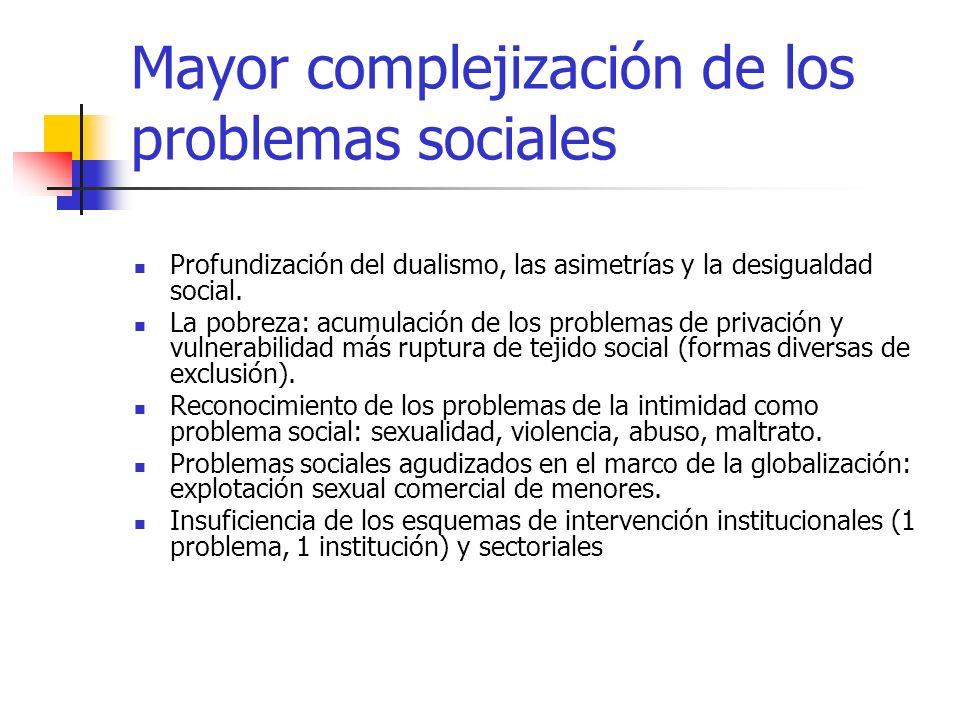 Mayor complejización de los problemas sociales Profundización del dualismo, las asimetrías y la desigualdad social. La pobreza: acumulación de los pro