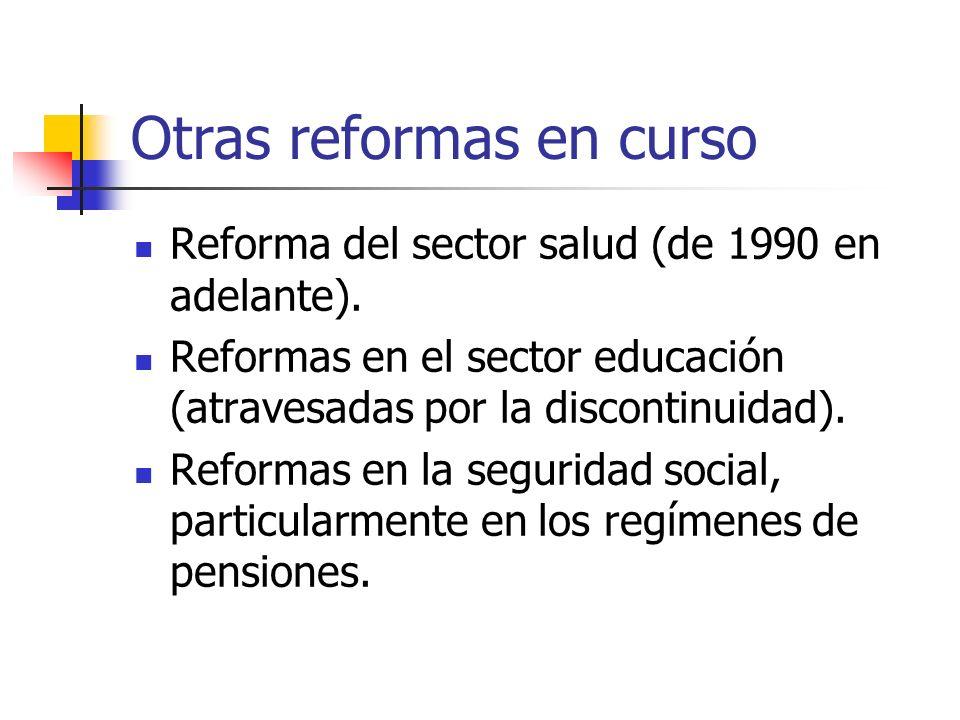Otras reformas en curso Reforma del sector salud (de 1990 en adelante). Reformas en el sector educación (atravesadas por la discontinuidad). Reformas