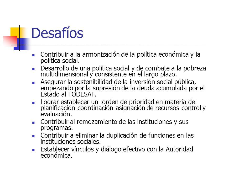 Desafíos Contribuir a la armonización de la política económica y la política social. Desarrollo de una política social y de combate a la pobreza multi