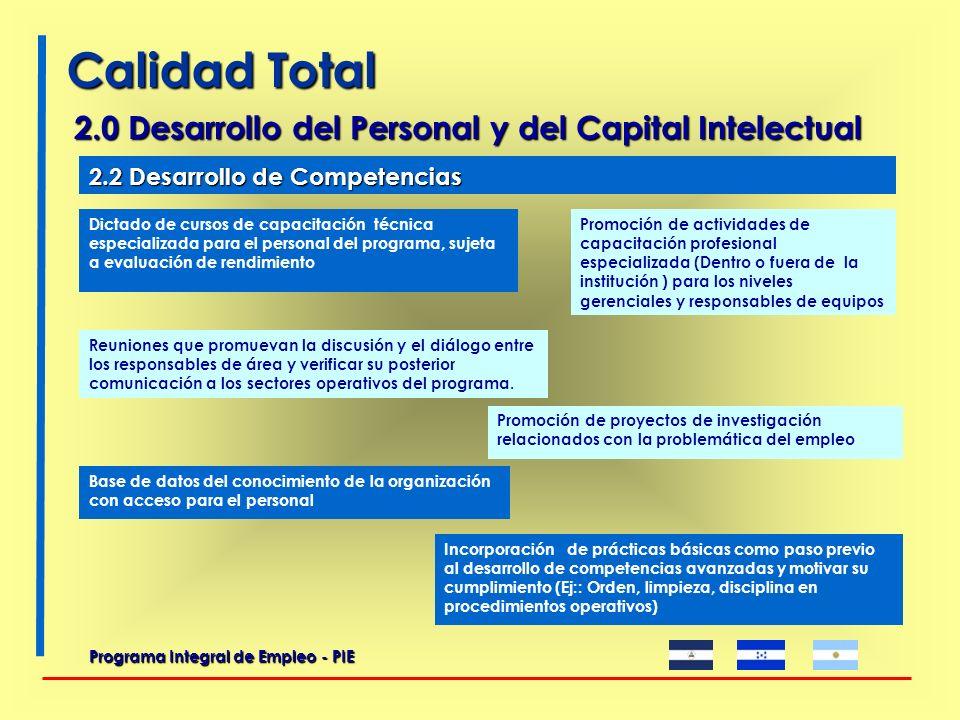 2.0 Desarrollo del Personal y del Capital Intelectual Programa Integral de Empleo - PIE Confección de planillas en las que cada equipo, a través de un cronograma mensual, estima el tiempo de trabajo necesario.