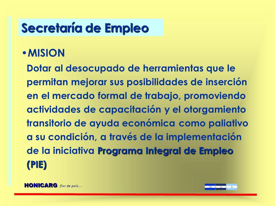VISION Ser la institución capaz de crear y garantizar, en igualdad de oportunidades, las condiciones para el acceso a un empleo digno contribuyendo a través de sus acciones a la reducción del desempleo.