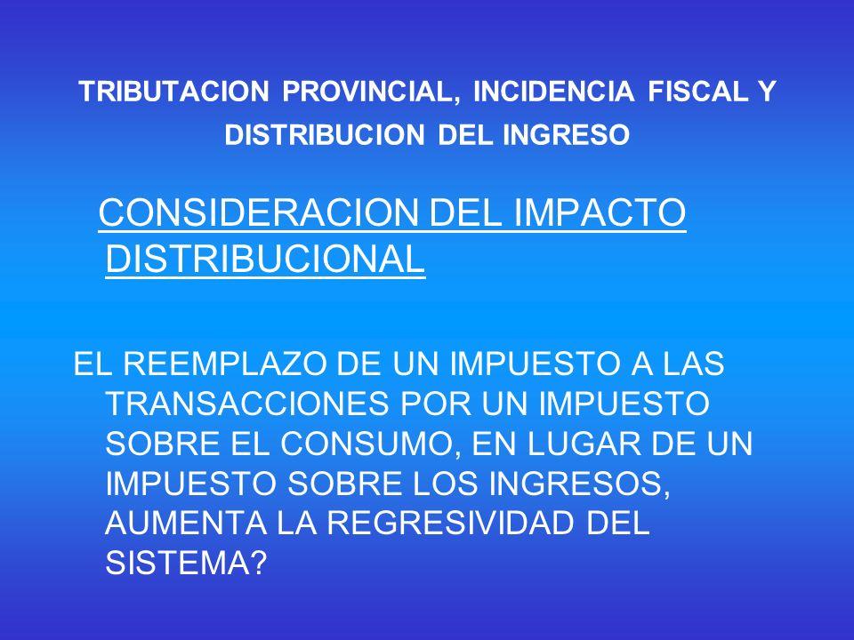 TRIBUTACION PROVINCIAL, INCIDENCIA FISCAL Y DISTRIBUCION DEL INGRESO CONSIDERACION DEL IMPACTO DISTRIBUCIONAL EL REEMPLAZO DE UN IMPUESTO A LAS TRANSACCIONES POR UN IMPUESTO SOBRE EL CONSUMO, EN LUGAR DE UN IMPUESTO SOBRE LOS INGRESOS, AUMENTA LA REGRESIVIDAD DEL SISTEMA