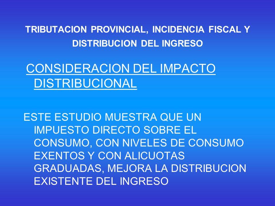 TRIBUTACION PROVINCIAL, INCIDENCIA FISCAL Y DISTRIBUCION DEL INGRESO CONSIDERACION DEL IMPACTO DISTRIBUCIONAL ESTE ESTUDIO MUESTRA QUE UN IMPUESTO DIRECTO SOBRE EL CONSUMO, CON NIVELES DE CONSUMO EXENTOS Y CON ALICUOTAS GRADUADAS, MEJORA LA DISTRIBUCION EXISTENTE DEL INGRESO