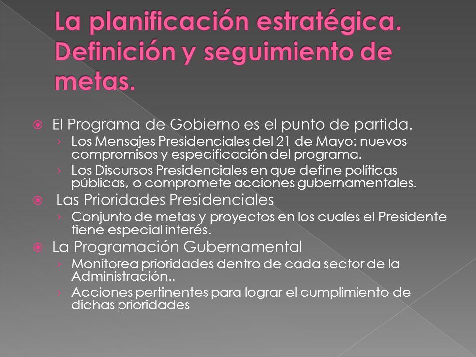 El Programa de Gobierno es el punto de partida. Los Mensajes Presidenciales del 21 de Mayo: nuevos compromisos y especificación del programa. Los Disc