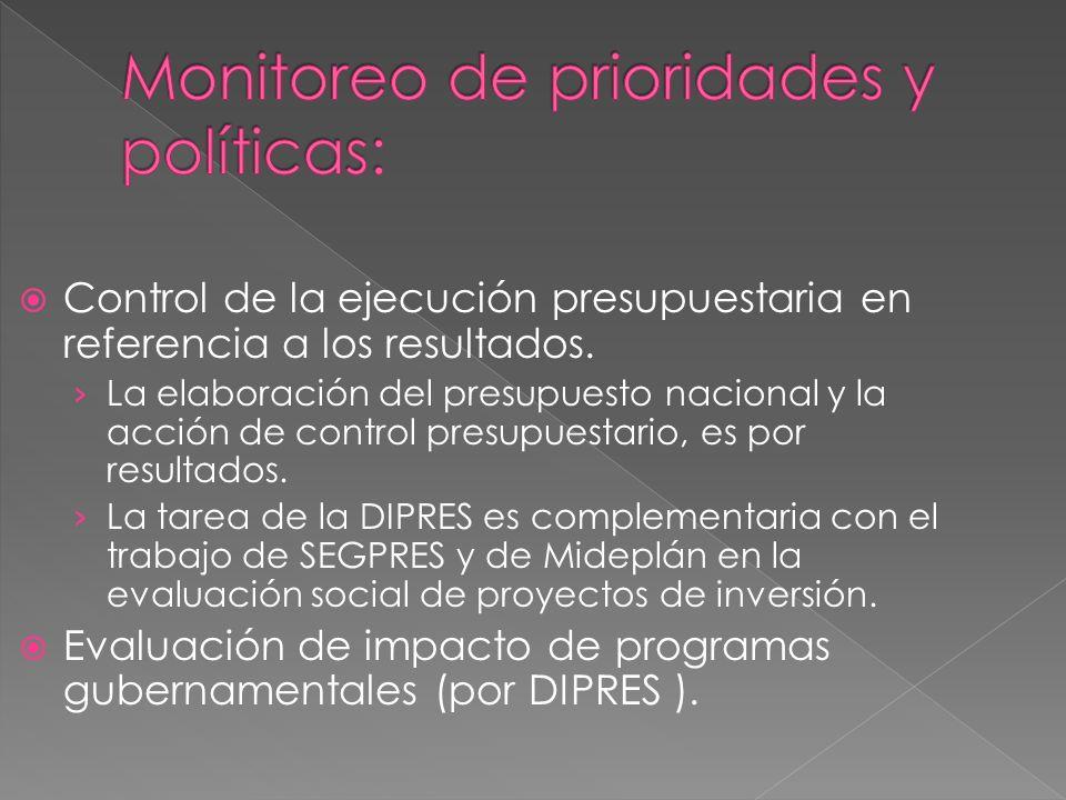Control de la ejecución presupuestaria en referencia a los resultados.