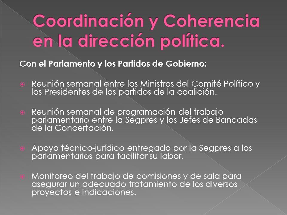 Con el Parlamento y los Partidos de Gobierno: Reunión semanal entre los Ministros del Comité Político y los Presidentes de los partidos de la coalició