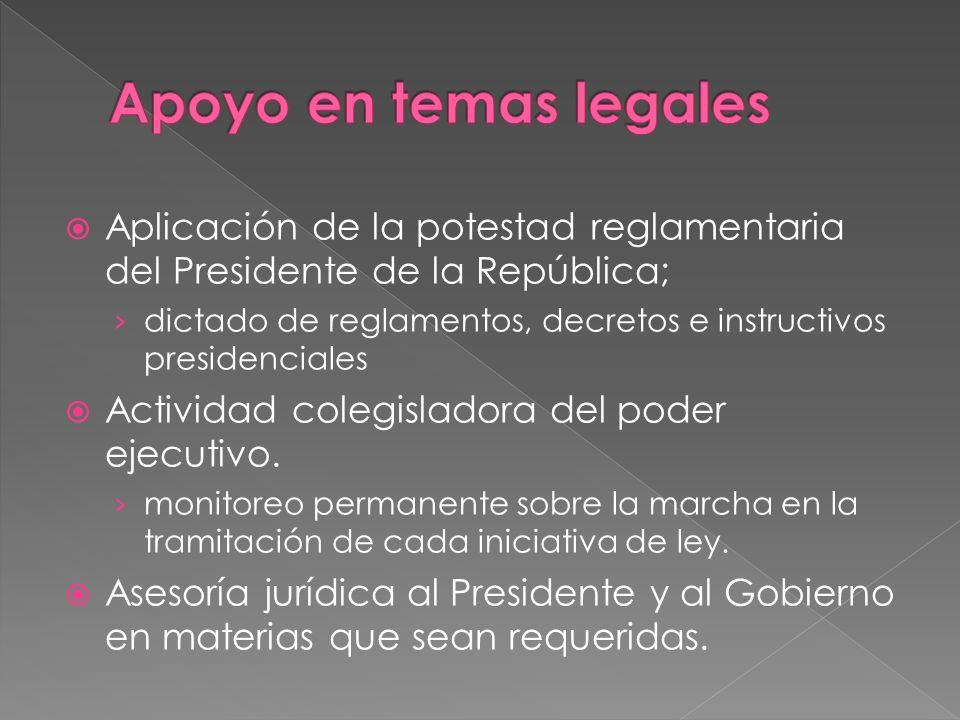 Aplicación de la potestad reglamentaria del Presidente de la República; dictado de reglamentos, decretos e instructivos presidenciales Actividad coleg