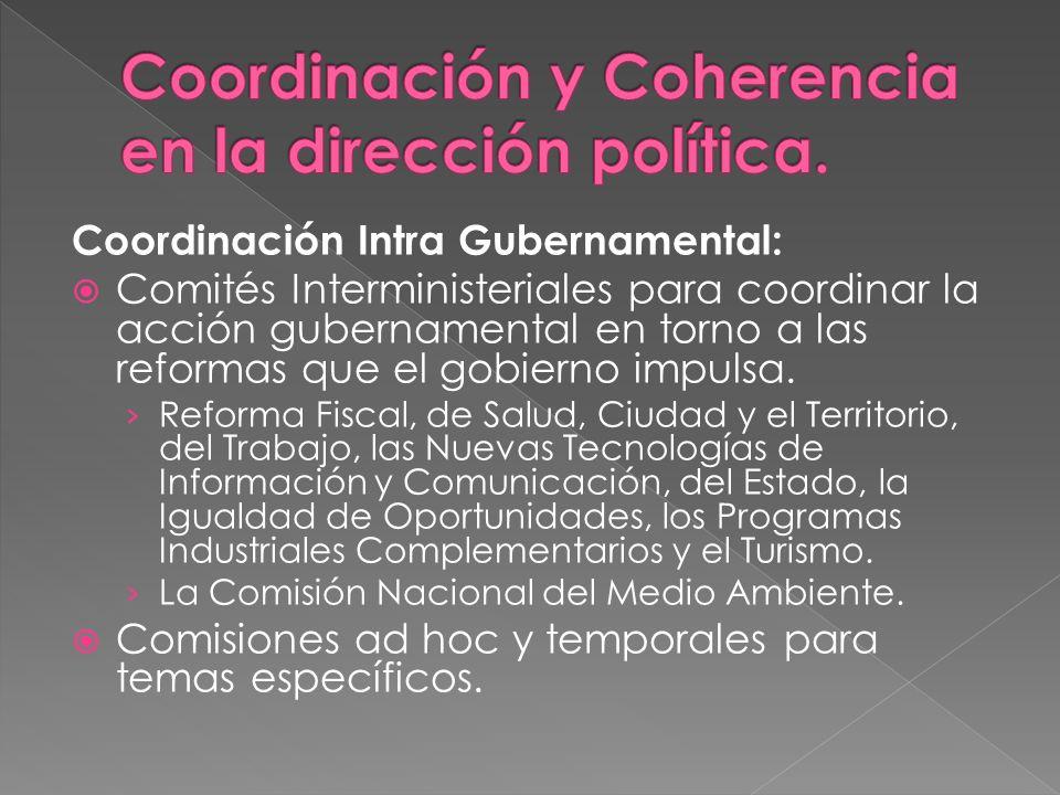 Coordinación Intra Gubernamental: Comités Interministeriales para coordinar la acción gubernamental en torno a las reformas que el gobierno impulsa. R