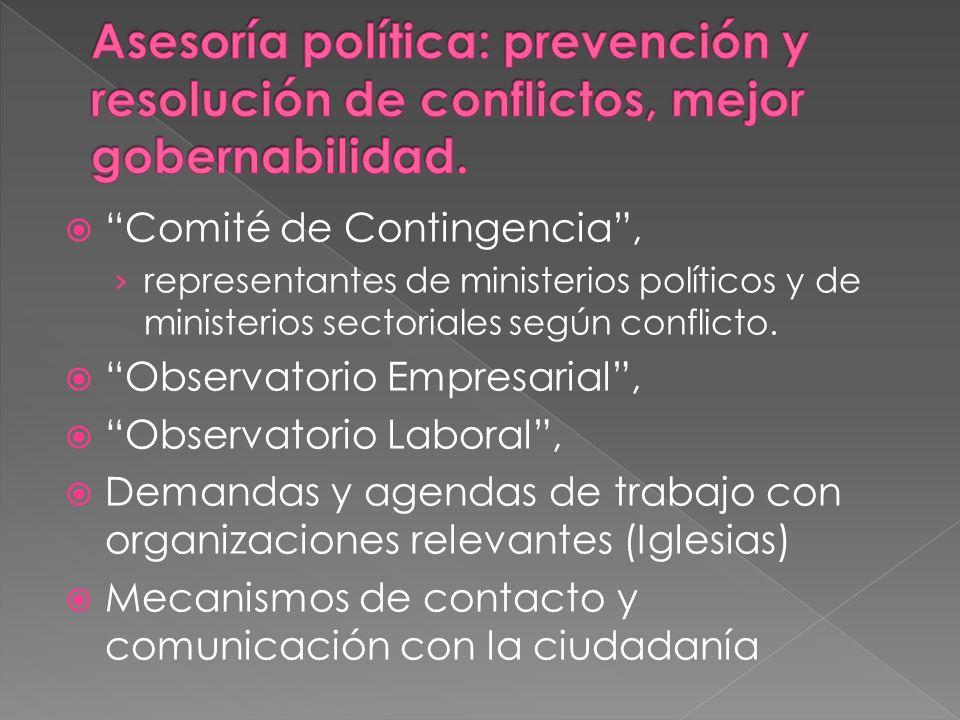 Comité de Contingencia, representantes de ministerios políticos y de ministerios sectoriales según conflicto. Observatorio Empresarial, Observatorio L