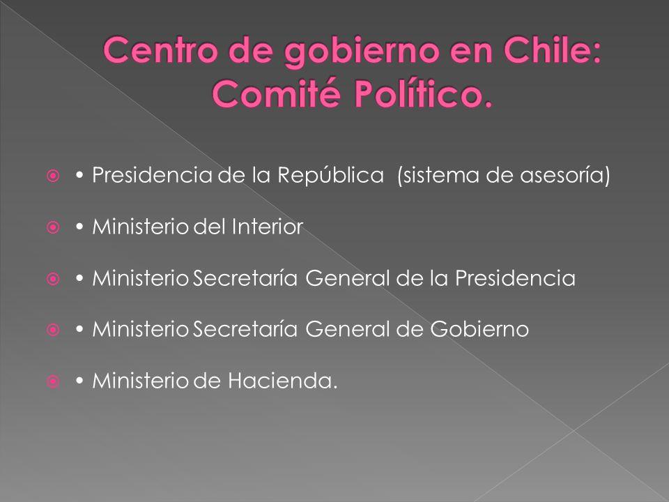 Presidencia de la República (sistema de asesoría) Ministerio del Interior Ministerio Secretaría General de la Presidencia Ministerio Secretaría Genera