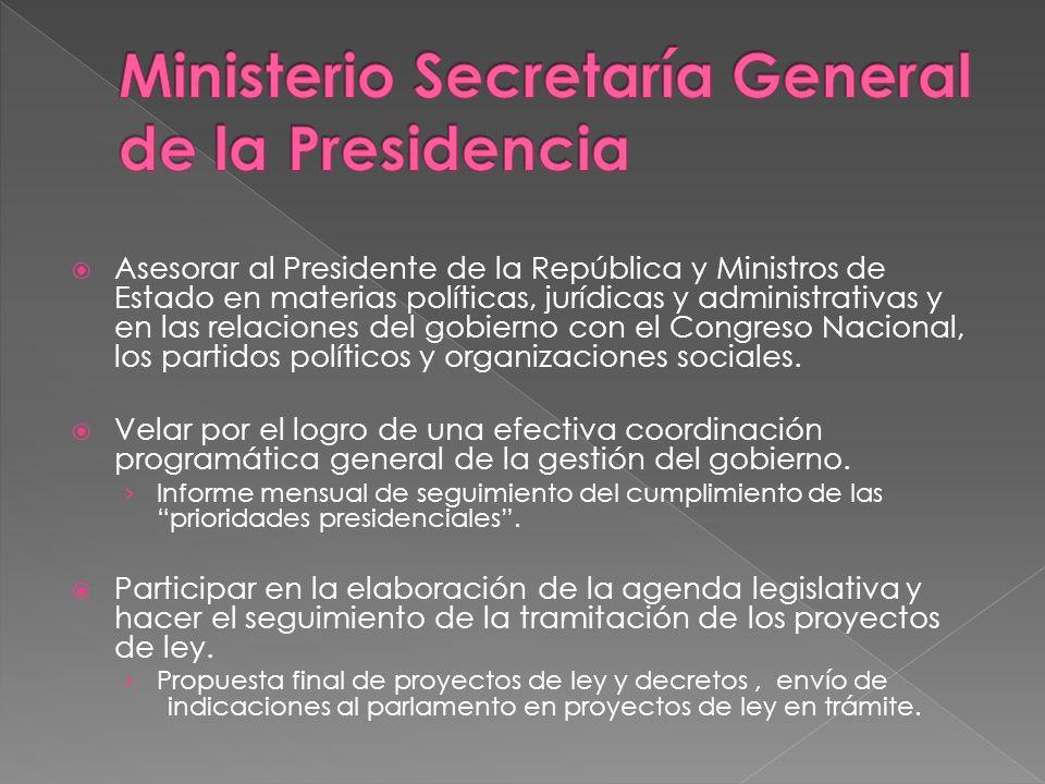 Asesorar al Presidente de la República y Ministros de Estado en materias políticas, jurídicas y administrativas y en las relaciones del gobierno con el Congreso Nacional, los partidos políticos y organizaciones sociales.