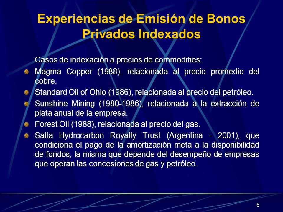 5 Experiencias de Emisión de Bonos Privados Indexados Casos de indexación a precios de commodities: Magma Copper (1988), relacionada al precio promedi