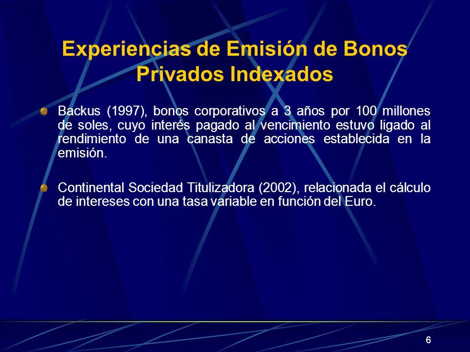 6 Experiencias de Emisión de Bonos Privados Indexados Backus (1997), bonos corporativos a 3 años por 100 millones de soles, cuyo interés pagado al ven