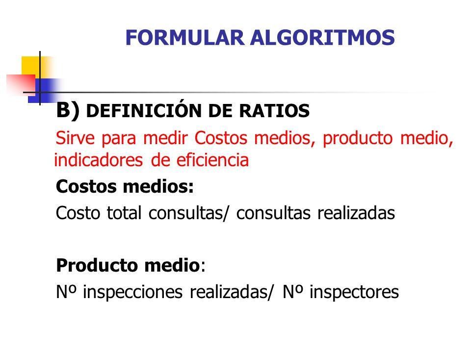 FORMULAR ALGORITMOS B) DEFINICIÓN DE RATIOS Sirve para medir Costos medios, producto medio, indicadores de eficiencia Costos medios: Costo total consu