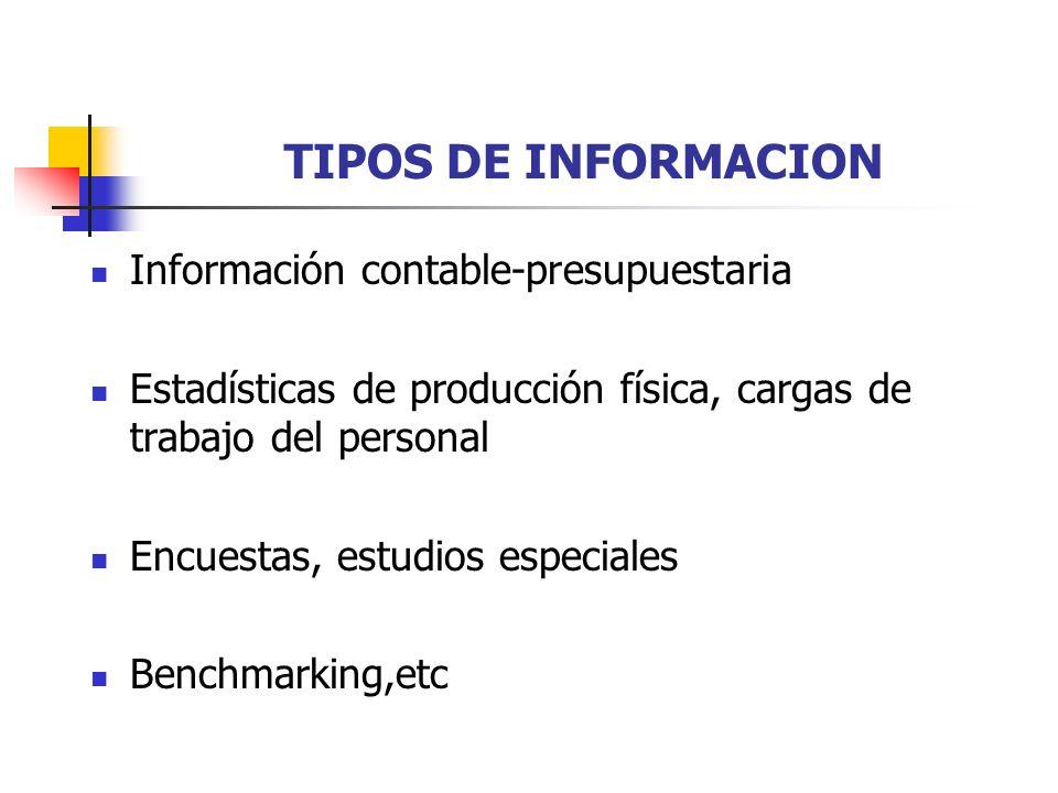 TIPOS DE INFORMACION Información contable-presupuestaria Estadísticas de producción física, cargas de trabajo del personal Encuestas, estudios especia