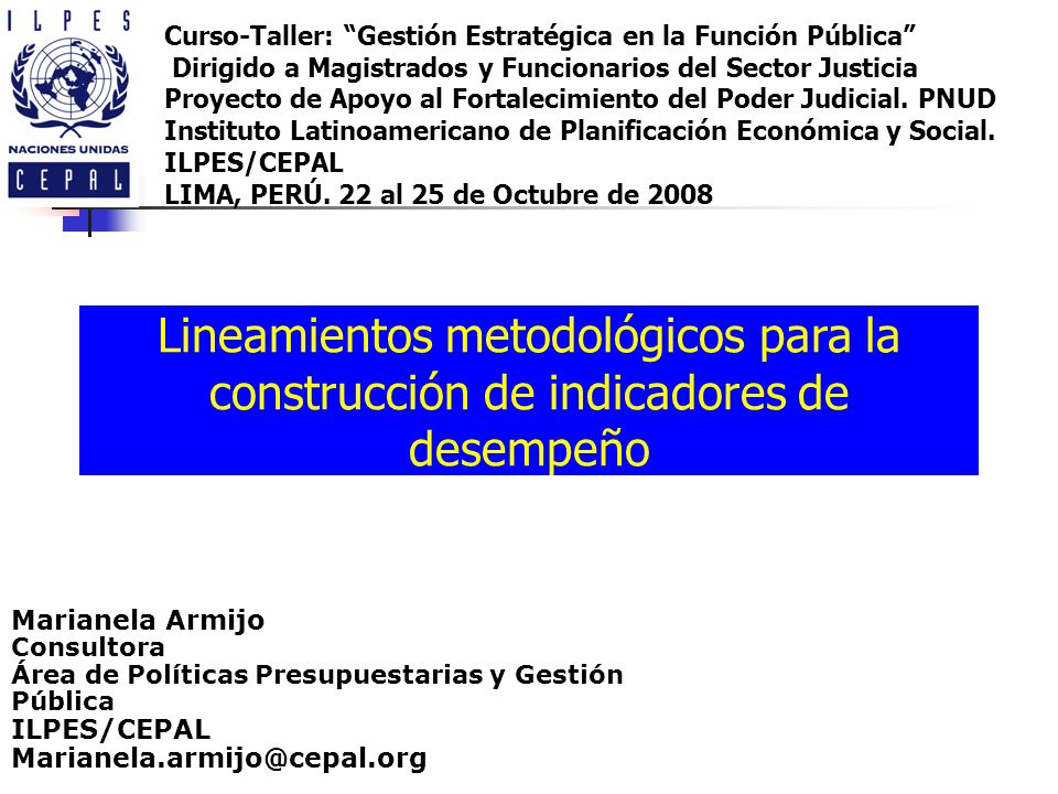 Lineamientos metodológicos para la construcción de indicadores de desempeño Marianela Armijo Consultora Área de Políticas Presupuestarias y Gestión Pú