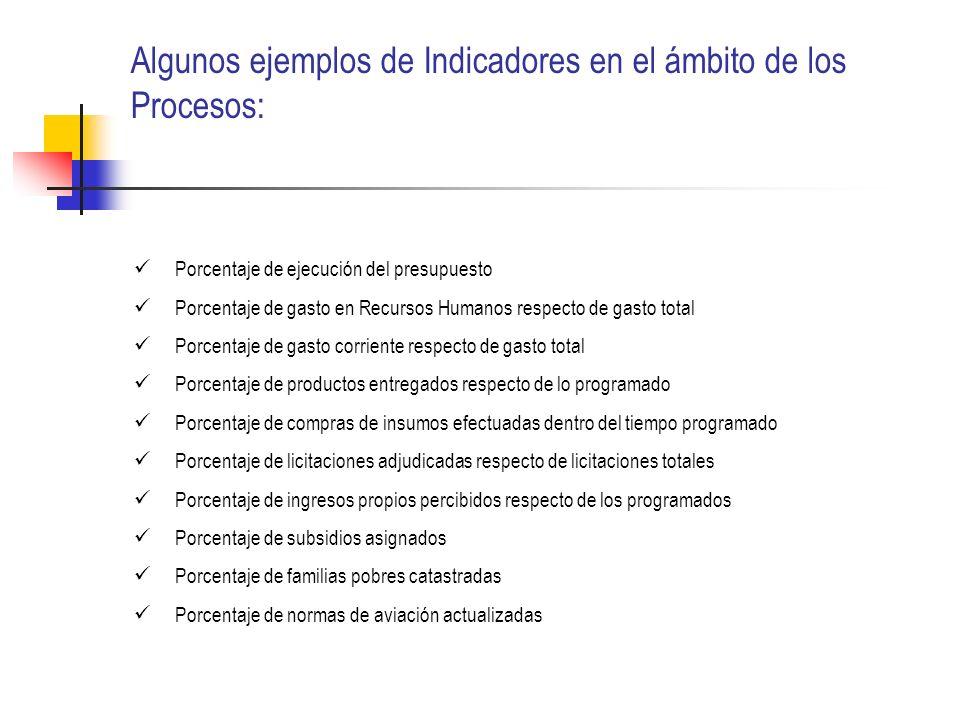 Algunos ejemplos de Indicadores en el ámbito de los Procesos: Porcentaje de ejecución del presupuesto Porcentaje de gasto en Recursos Humanos respecto