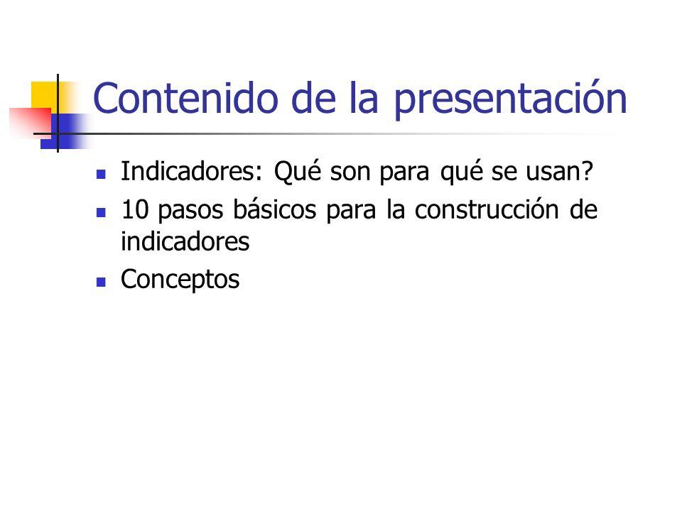 Contenido de la presentación Indicadores: Qué son para qué se usan? 10 pasos básicos para la construcción de indicadores Conceptos