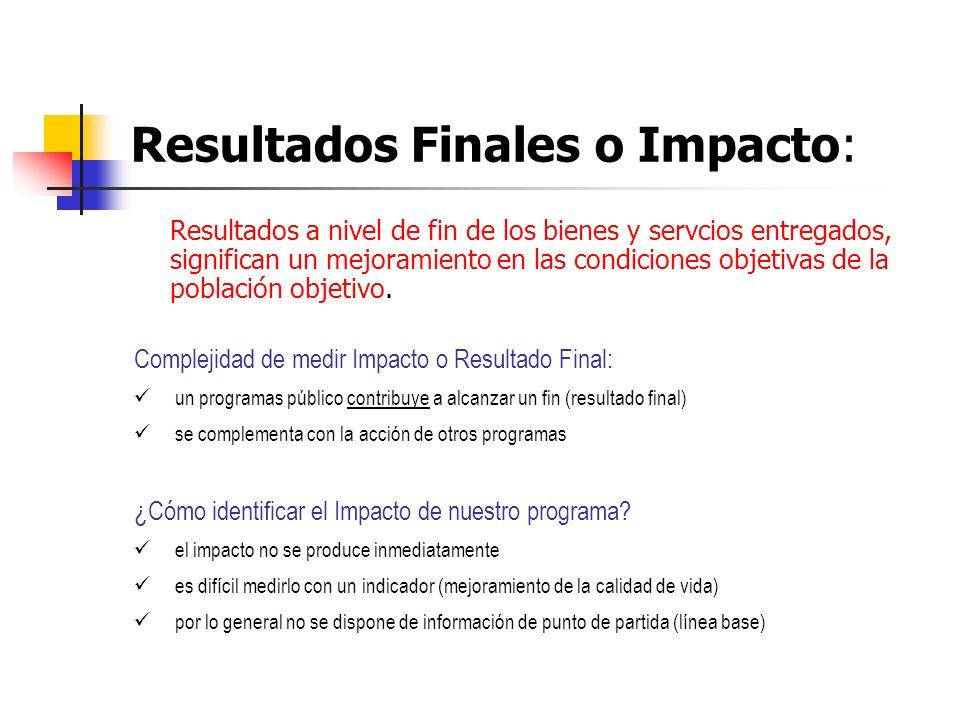 Resultados Finales o Impacto: Resultados a nivel de fin de los bienes y servcios entregados, significan un mejoramiento en las condiciones objetivas d