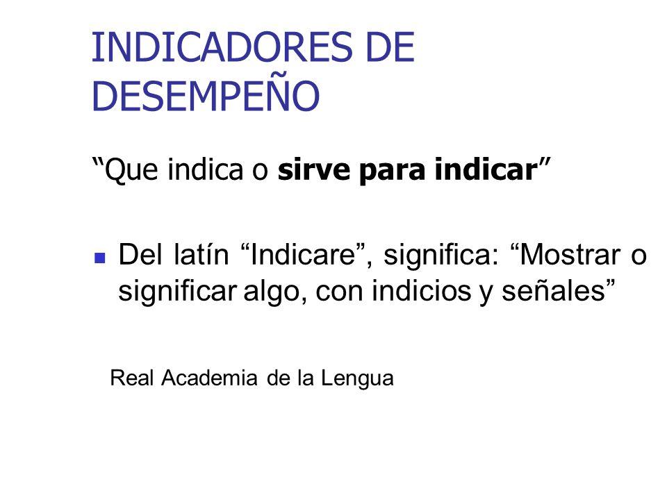 INDICADORES DE DESEMPEÑO Que indica o sirve para indicar Del latín Indicare, significa: Mostrar o significar algo, con indicios y señales Real Academia de la Lengua