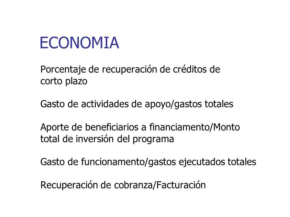 ECONOMIA Porcentaje de recuperación de créditos de corto plazo Gasto de actividades de apoyo/gastos totales Aporte de beneficiarios a financiamento/Monto total de inversión del programa Gasto de funcionamento/gastos ejecutados totales Recuperación de cobranza/Facturación