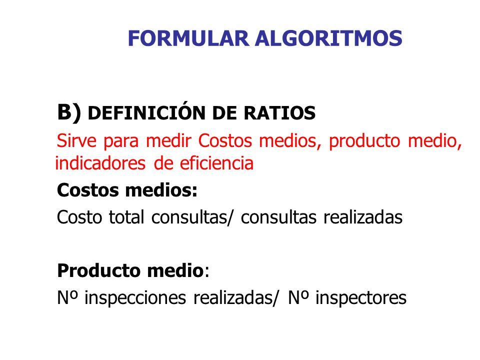FORMULAR ALGORITMOS B) DEFINICIÓN DE RATIOS Sirve para medir Costos medios, producto medio, indicadores de eficiencia Costos medios: Costo total consultas/ consultas realizadas Producto medio: Nº inspecciones realizadas/ Nº inspectores