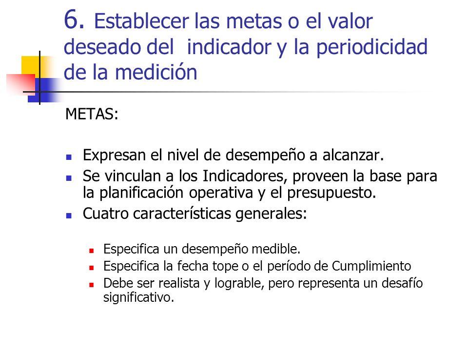 6. Establecer las metas o el valor deseado del indicador y la periodicidad de la medición METAS: Expresan el nivel de desempeño a alcanzar. Se vincula