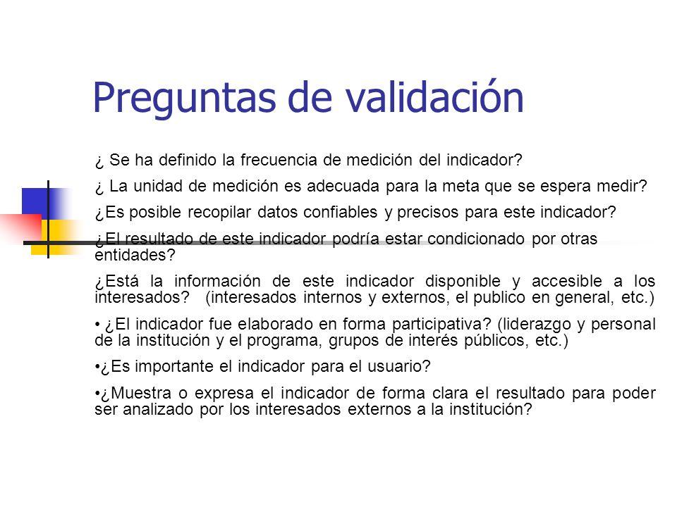 Preguntas de validación ¿ Se ha definido la frecuencia de medición del indicador.