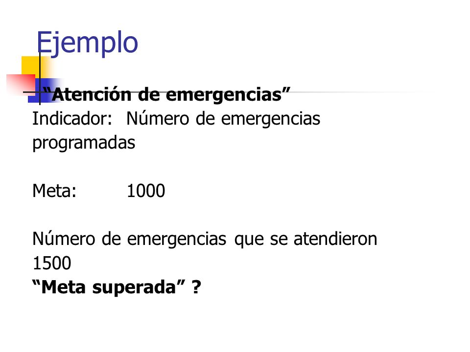 Ejemplo Atención de emergencias Indicador: Número de emergencias programadas Meta: 1000 Número de emergencias que se atendieron 1500 Meta superada ?