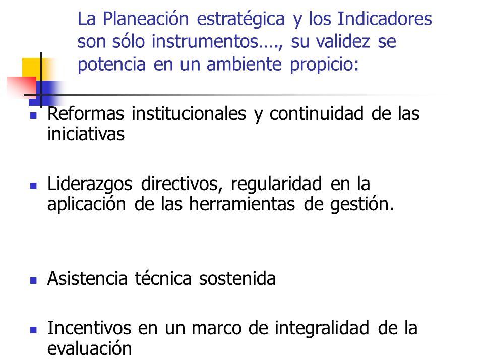 La Planeación estratégica y los Indicadores son sólo instrumentos…., su validez se potencia en un ambiente propicio: Reformas institucionales y continuidad de las iniciativas Liderazgos directivos, regularidad en la aplicación de las herramientas de gestión.